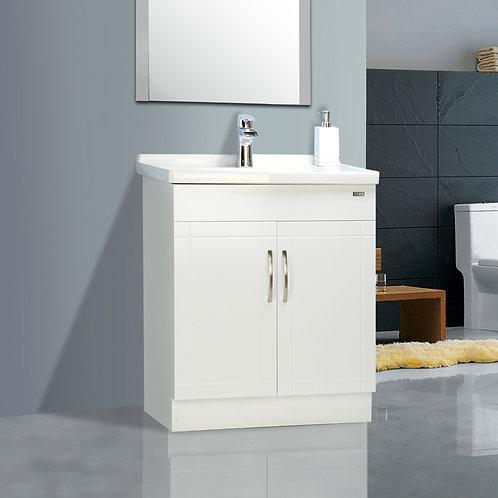 "28"" White Vanity with Ceramic Top"