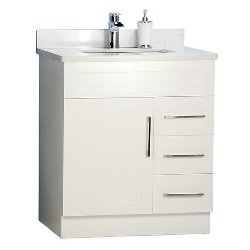 "30"" Shaker Style White Vanity with Stone Top"