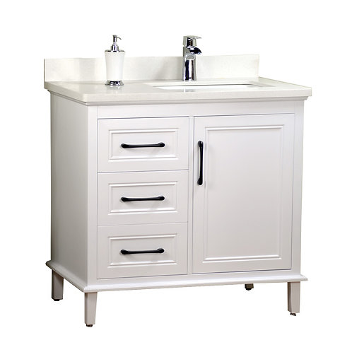 """36"""" Off-Set Sink White Vanity with Stone Top"""