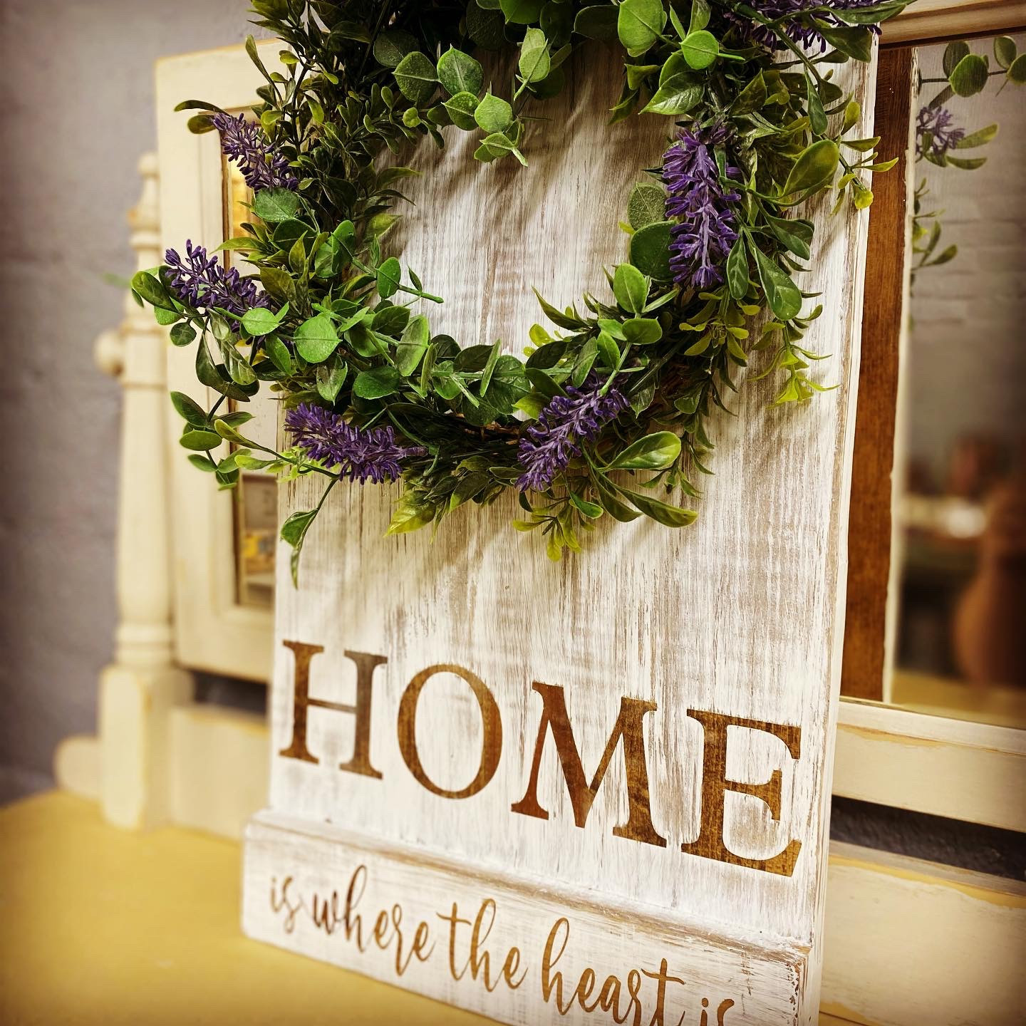 Sign with mini wreath