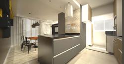 cozinha integrada com ilha cooktop