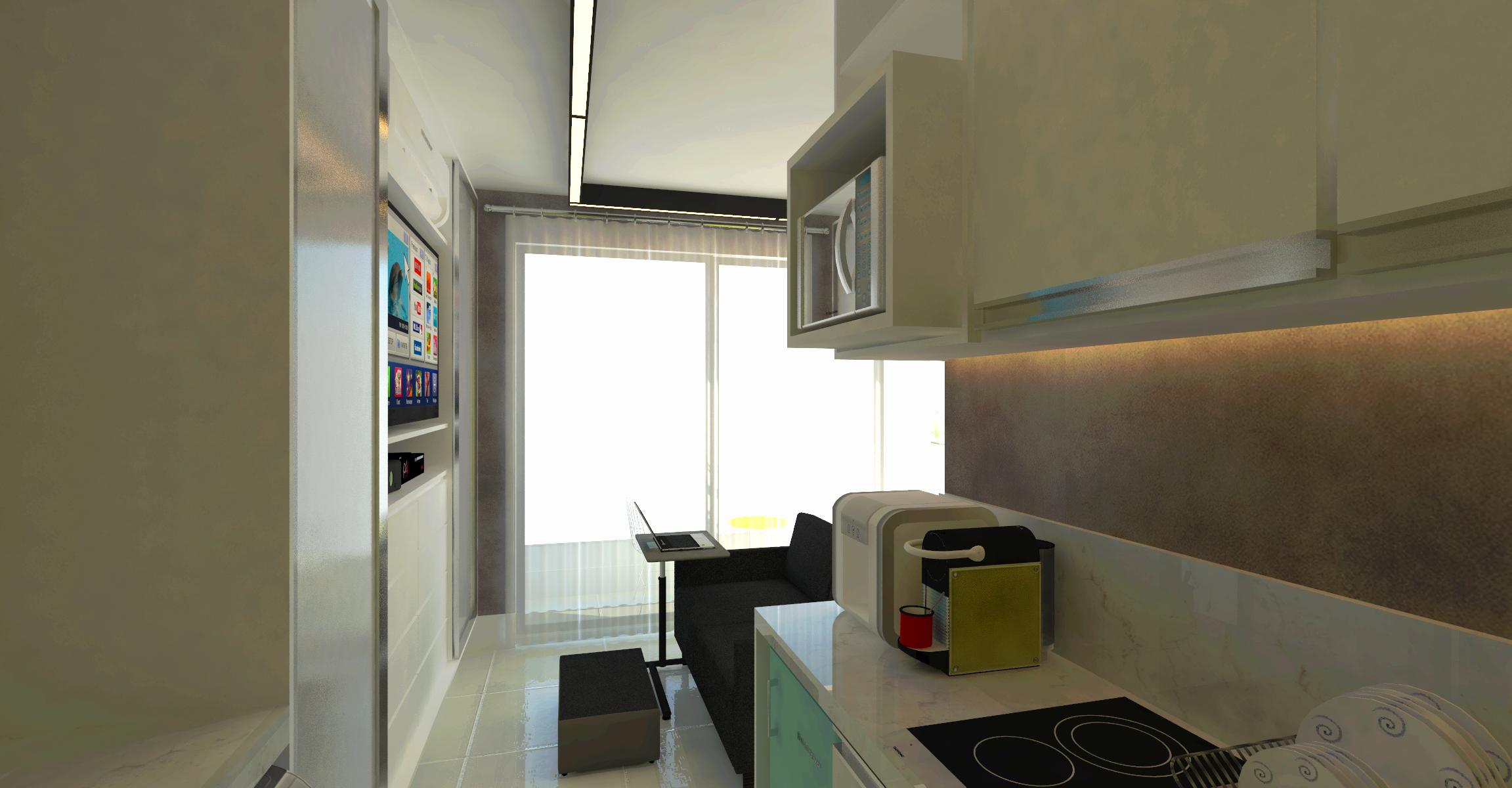 apartamento peque cozinha integrada