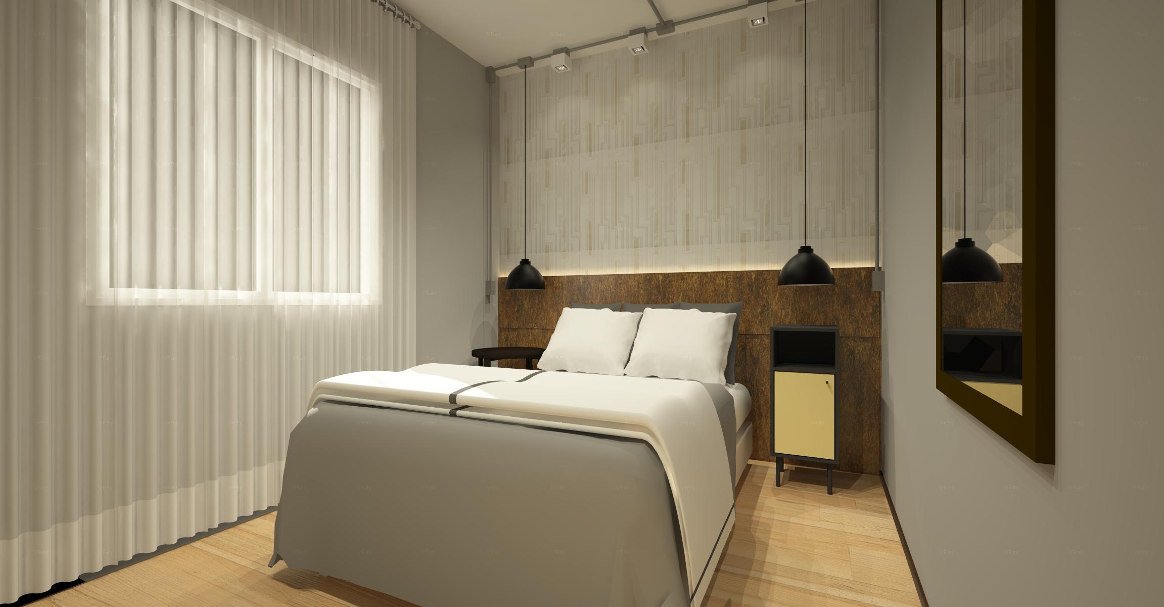 dormitório contemporâneo industrial