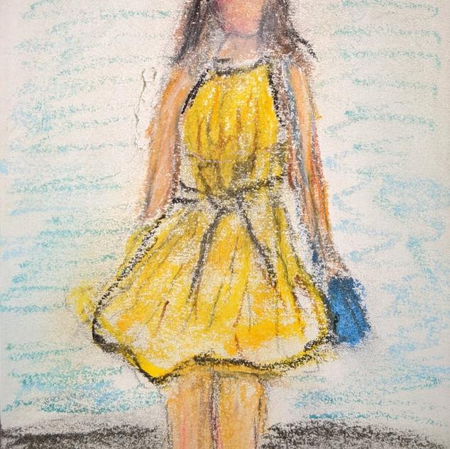 "Nameless, Faceless, Pastel on Paper, 5 x 3 1/2"""