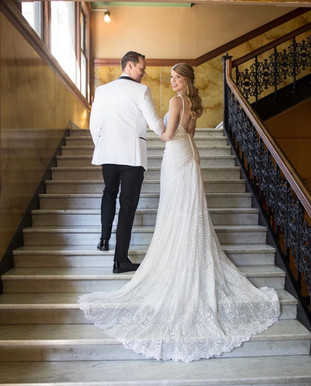 One of a kind lace wedding dress exclusive to Rachel and Rose