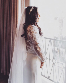 Custom wedding dress with lace sleeves by Rachel and Rose