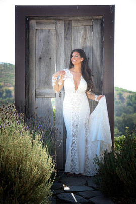 Custom lace wedding dress by Rachel and Rose