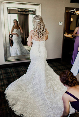 Full lace wedding dress exclusive to Rachel and Rose