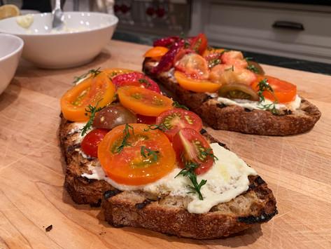 Heirloom Tomato and Grilled Plum Tartine