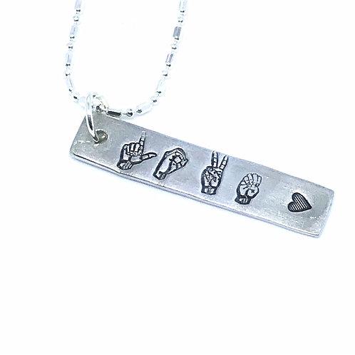 ASL Love Bar Necklace