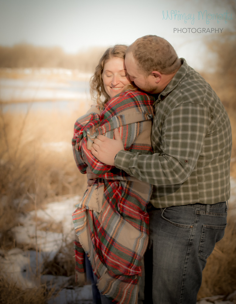 Beautiful Engagement session in the winter in Brush Colorado by the river
