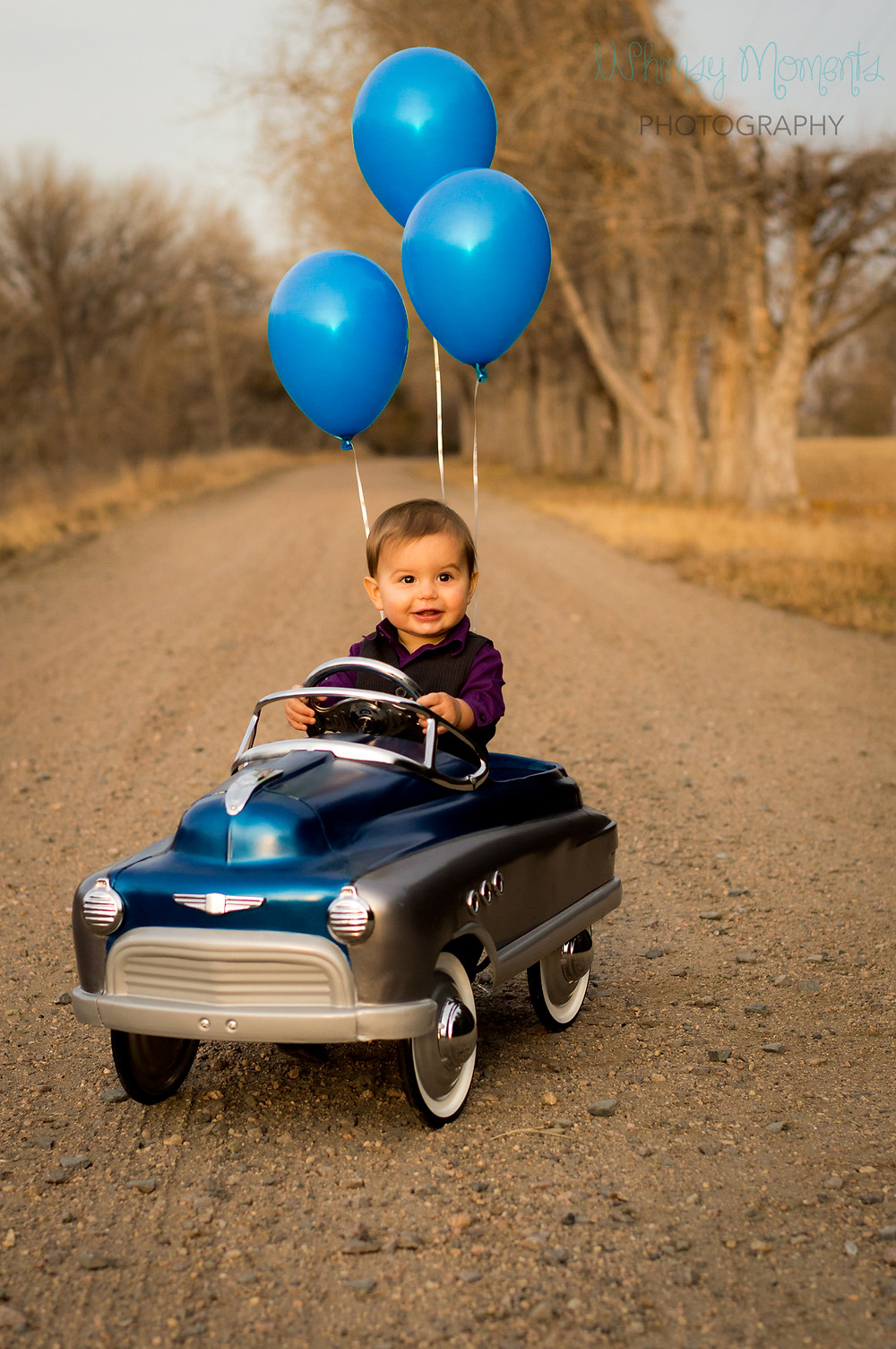 One year boy in pedal car with blue balloons smiling