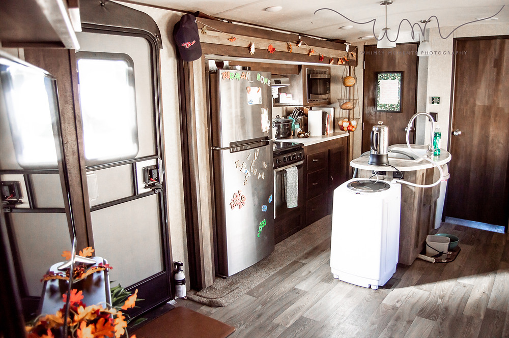 Inside the camper living and dining room