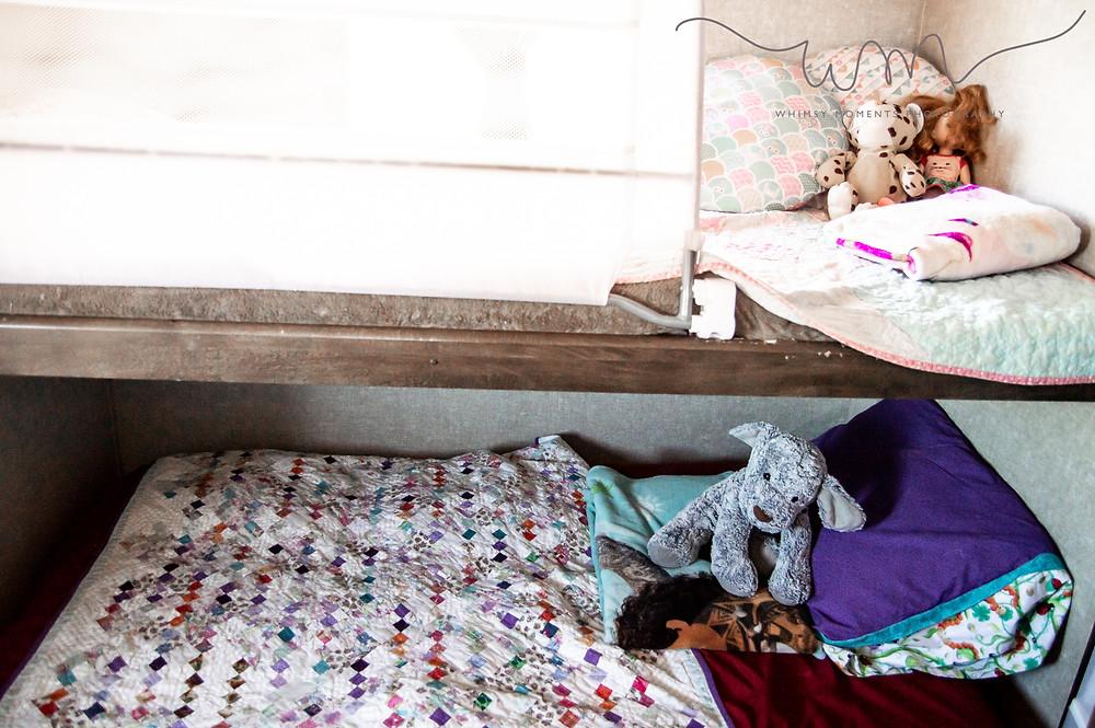 Girls bed in camper