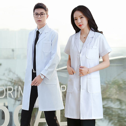 Unisex Slim Solid Color Simple Cotton Anti-Wrinkle Overalls Long Coat Scrub