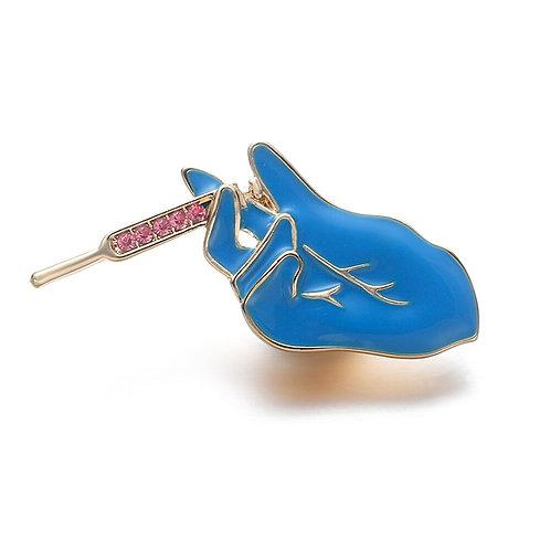 Syringe Enamel Pin Metal Blue Brooch Medical Pins Jewelry Doctors Nurses Gift