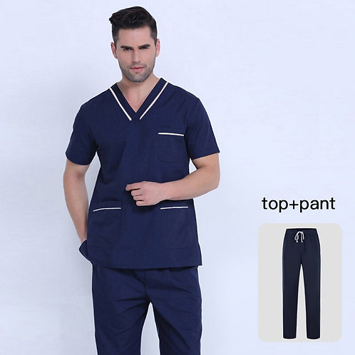 Clothes Set Scrubs Uniform Unisex Scrubs Set Classic V-Neck Tops + Frosted Pants