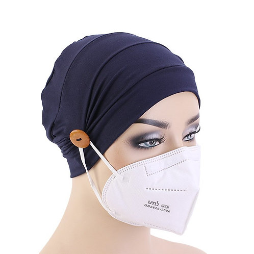 Nurse Cap With Button Protect Ear Mask Cap for Medical Workers Muslim Turban Cap