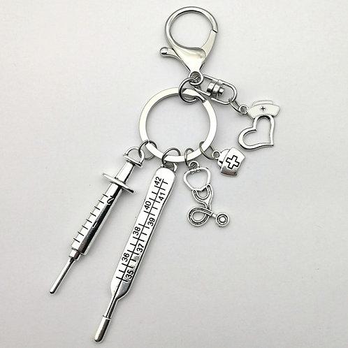 Needle Syringe Stethoscope Love Cute Key chain White Drip Oil Nurse Cap Jewelry