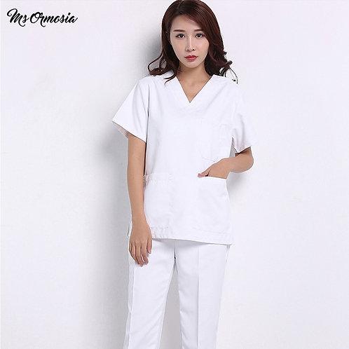 Cotton Slim-Fit Overalls Nursing Uniform Laboratory Uniform  Frosted