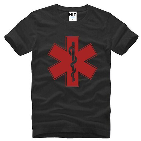 EMT Printed T Shirt Men Summer O-Neck Cotton Medical Technician Male Top Tee
