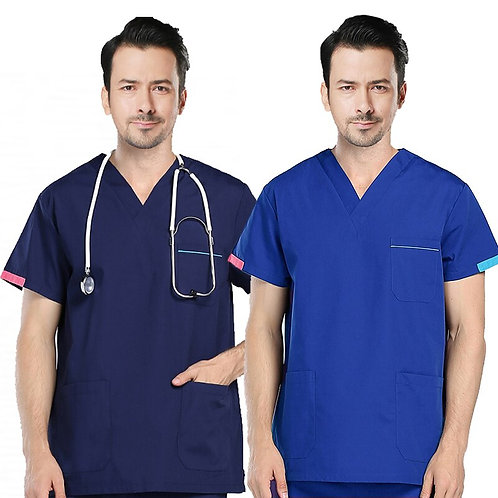 Men's Scrubs Top Color Blocking Design V-Neck Short Sleeve Top Cotton Uniform