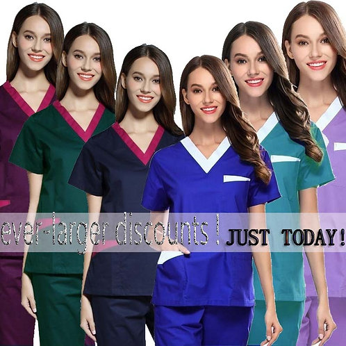 Top + Elastic Waistline Pants Pure Cotton Nursing Uniforms