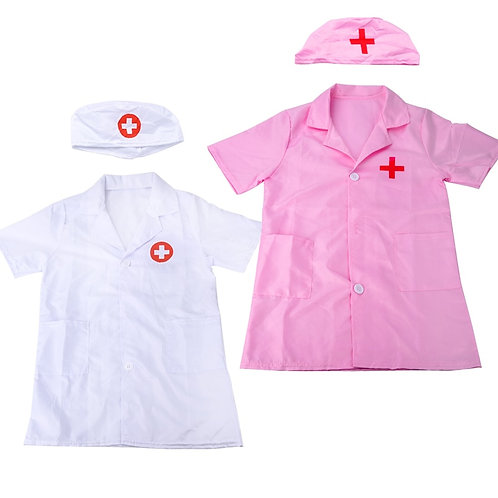Cosplay Costume Halloween Party Coat Boy Girl Short Sleeve Nurse Uniform