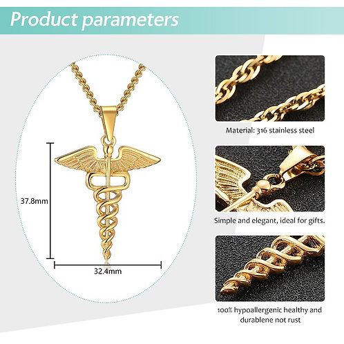 Medical Symbol Nurse Doctor Stainless Steel Caduceus Double Snake Wings Jewelry