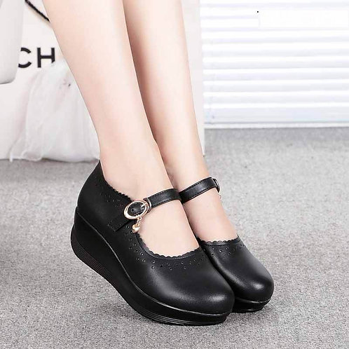 Real Leather Shoes High Heels Round Shallow Mouth Women Shoes