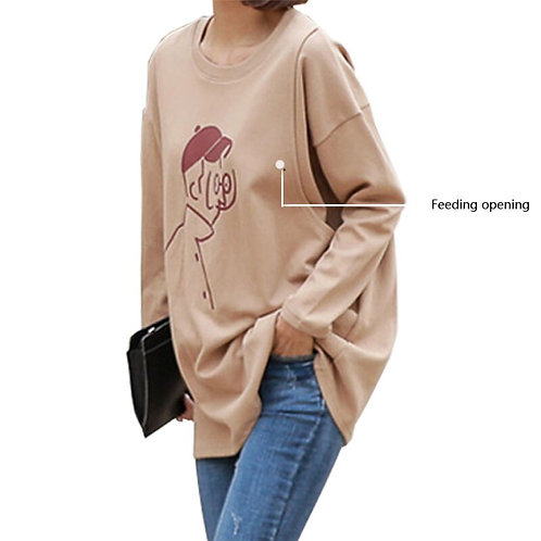 T Shirt Spring Full Sleeve Knit Cotton Plus Size 4XL Clothes for Nursing