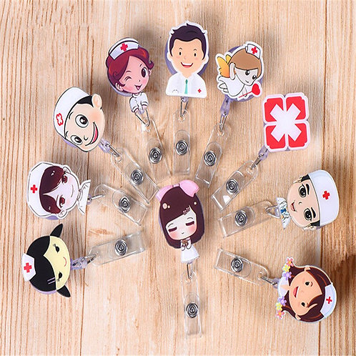 24 Cartoon Character Doctors Nurse Office Retractable Badge Reel  Id Card Holder