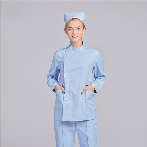 100% Cotton Long Sleeves Surgical Hospital Nurse Scrub Lab Coat for Women