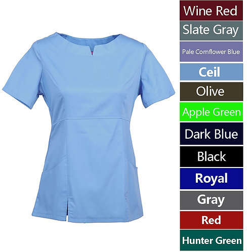 Women's Nursing UniformShort Sleeve Rounded Neckline Working Top With Pockets