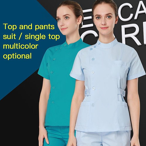 Nursing Suits/Tops Extend Side Waist Collar Adjustable Strap Opening Scrubs