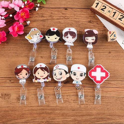 Mini Retractable Badge Reel Nurse Lanyards ID Name Card Badge Holders