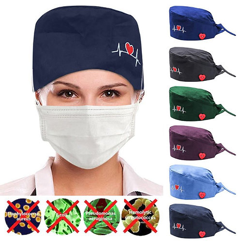 Women ECG Pattern Cap With Buttons Lace-Up Scrub Hat for Doctor Nurse Headwear