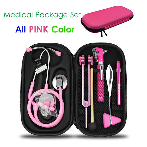 Storage Kit With Stethoscope Tuning Fork Reflex Hammer LED Penlight Torch Tool