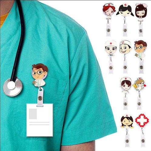 Retractable Badge Reel Nurse ID Name Card Badge Holder Clips Key Card Holder