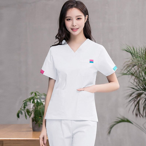 Pure Cotton Medical Uniforms Classic v Neck Nurse Scrub Top and Pants
