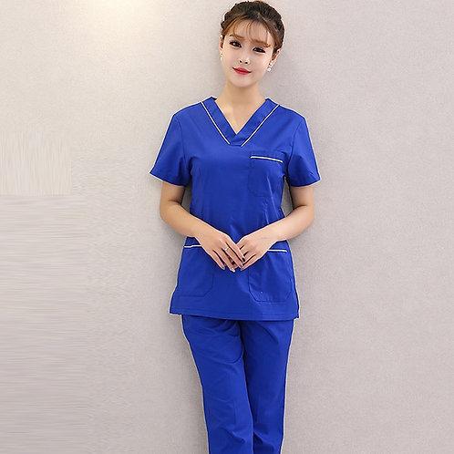 Scrubs Set for Women Color Blocking Sedign V-Neck Short Sleeves Top + Pants