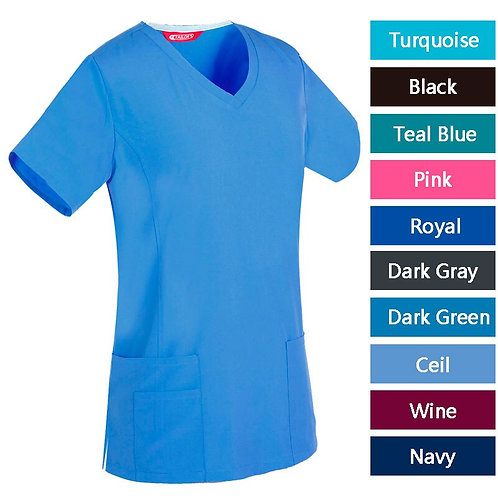 Women's Nursing Uniform Blouse Short Sleeve Working Top With Pockets