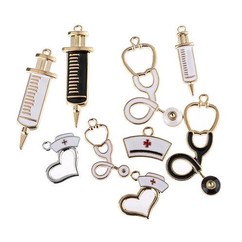 10pcs/Mixed 9pcs Nurse Stethoscope Syringe Charms Pendant Jewelry