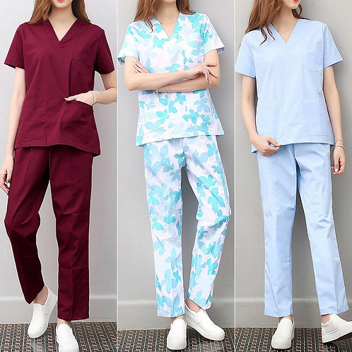 Women and Men Nurse Uniforms Nursing Scrubs Clothes Short Sleeve Coat