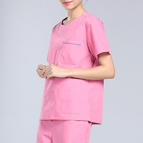 Fashion Solid Scrubs Tops Short Sleeves Nursing Uniforms