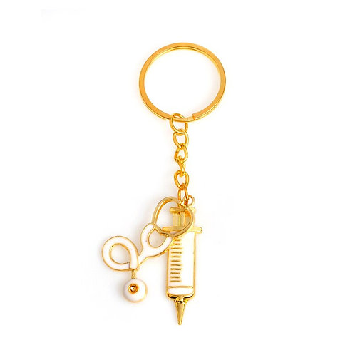 2 Styles Metal Gold Medical Supplies Keyring Key Chain for Doctors Nurse Jewelry