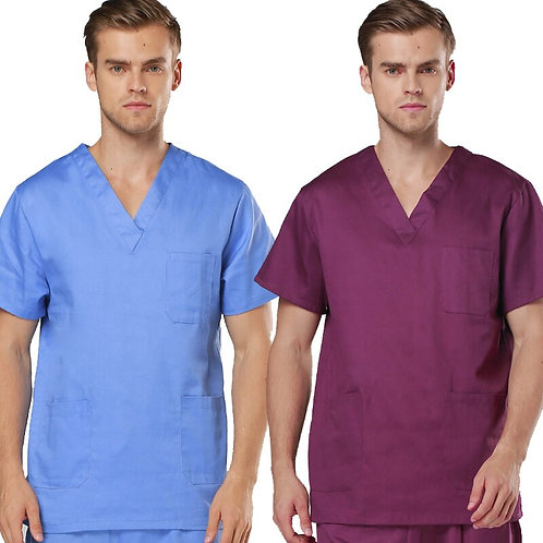 [TOP] Men's Short  Sleeve v Neck COTTON  Medical Scrubs TOP / Nursing Uniform