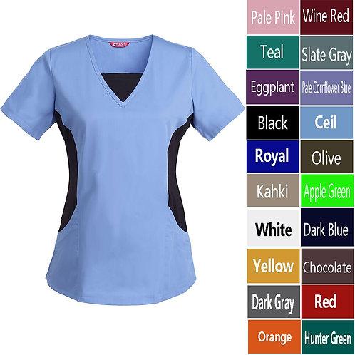 Women's Nursing Uniform Blouse Short Sleeve V-Neck Working Top With Pockets