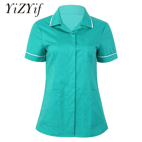 Short Sleeves Button Down Hospitality Maid Nurses Care Therapist Dentist Uniform