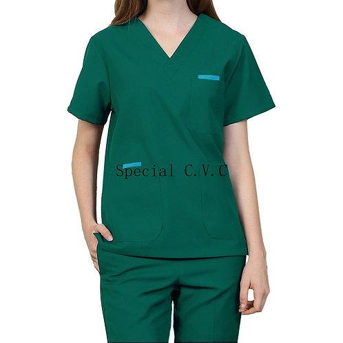 Women Scrub Top Cotton Nursing Uniforms Short Sleeve Doctor Clothes v Neck Top